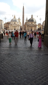 Sanpietrini en Piazza del Popolo.
