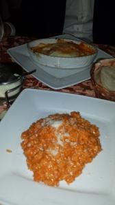 Risotto y lasagna.